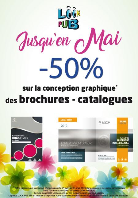 Promotion offre look pub communication conception graphique brochures catalogues publicité